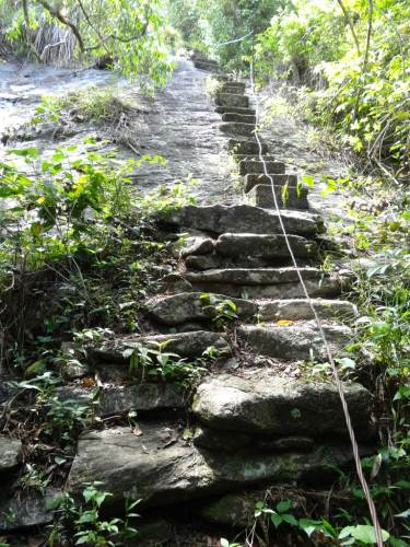 Very steep climb, thanks for those who built the steps