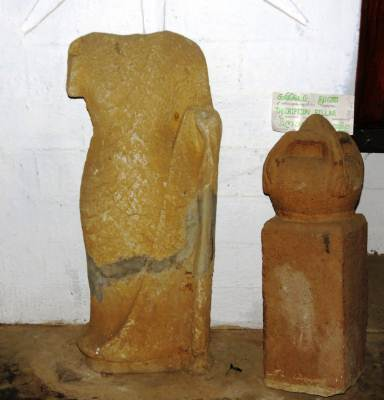 Remains of Buddha statues