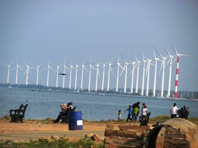 Puttalam lagoon and wind power mill