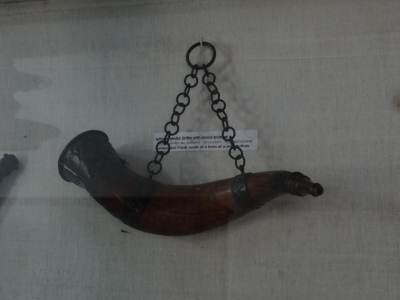 A gun powder flask made of Wild buffalo horn