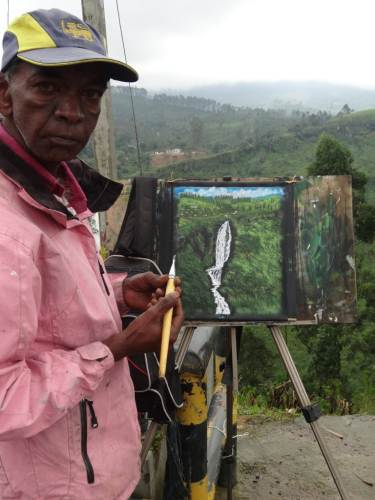The Artist who's been there 8 years at work even amid heavy rains so that he can look after his family