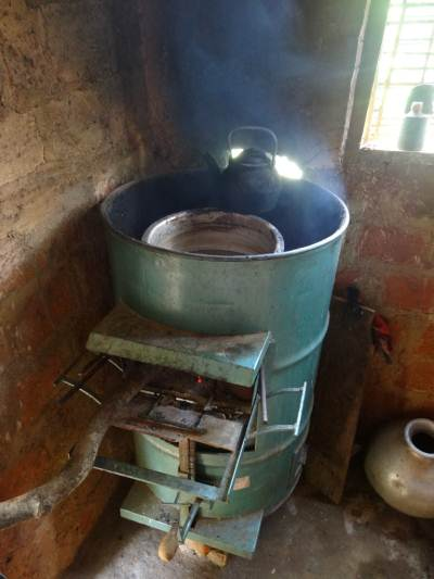 Jaggery stove made out of a barrel