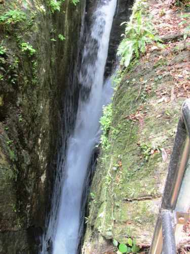 Lower part of the fall flows between two boulders about 2 meters wide