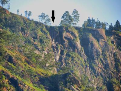 Note-Dry waterfall-Garandi Ella/Okandagala Ella. Captured from Matiyambe area