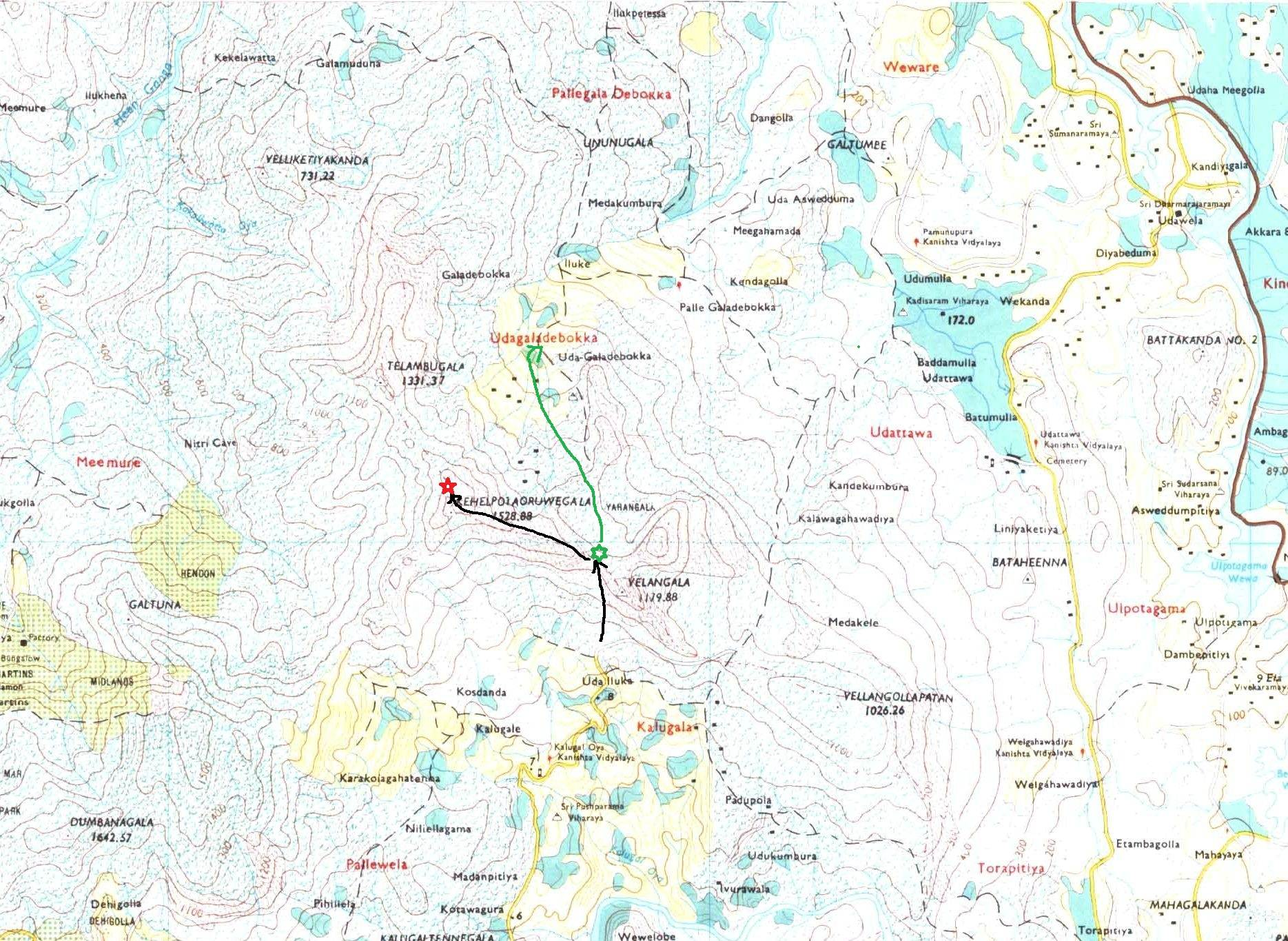 Black arrow till green star shows the pathway towards Velangolla Pathana from Kalugala. Then black arrow shows our hiking towards the peak of Kehelpothdoruwegala peak (in red star). Green arrow shows our pathway to Udagaldebokka village.