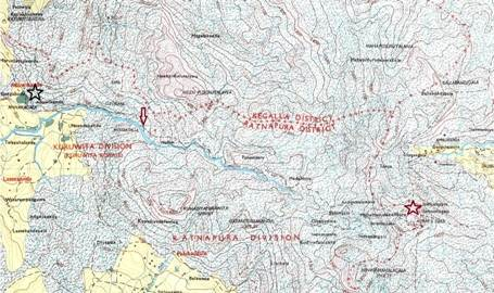 Kuruwita trail. It is shown in red arrow, goes parallel to the Kuru River. Black star shows the starting point of trail head. Red star shows the trail end at Adam's peak.