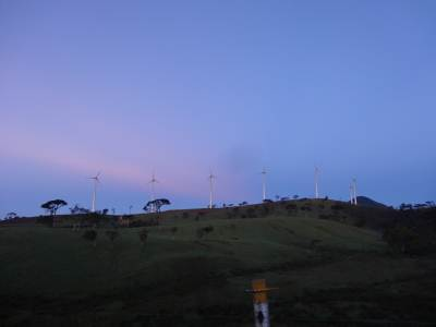 Windmills at Ambewela dancing in the morning