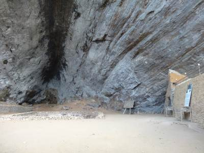 The main cave, can you see the dug out bit in the middle?