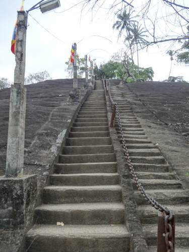 Large chains as supporters. Can see the old steps carved on the right