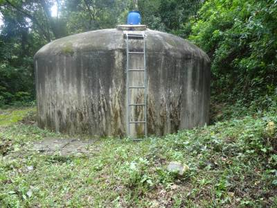 The water tank just below the waterfall
