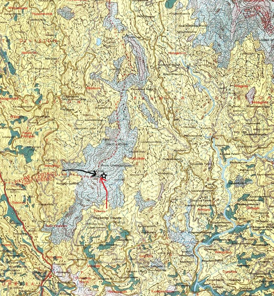 Map-Note Hunnasgiriya mountain range and Campbell's Lane forest reserve. Black star shows the peak and black arrow shows our approach from Hunnasgiriya estate side. Red arrow shows the pathway from Panwila side.  This is the boundary between Kandy and Mathale district.