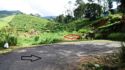Directions- Black arrow from Huluganga town and red arrow shows the footpath way towards the waterfall. Waterfall can be visible even from here