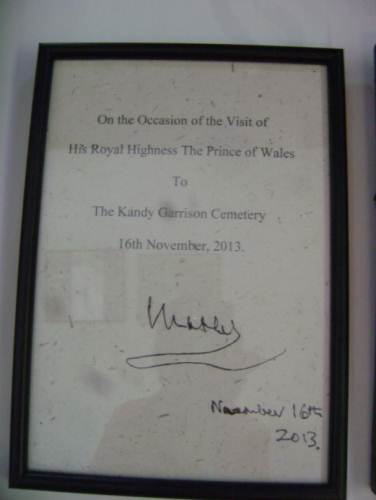Entry by Prince Charles on his visit