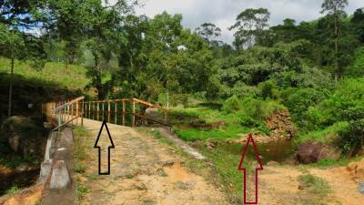 "Two bridges met on our way.  Red one shows ""Sapaththu Palama"" (සපත්තු පාලම) only for heavy vehicles. Other one for light vehicles"
