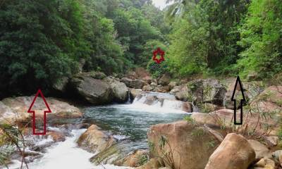Dunumadala Oya. Red star shows the place of the waterfall. It is better go on left hand side of the stream (red arrow)