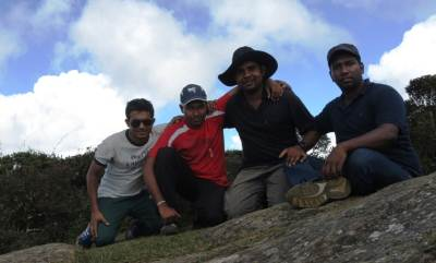 Team photo taken below the summit. Ashan is missing. This is the place you can have a good panoramic view from Thotupola Mountain.