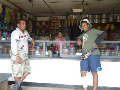 The hospitable and friendly shop owner with two old boys
