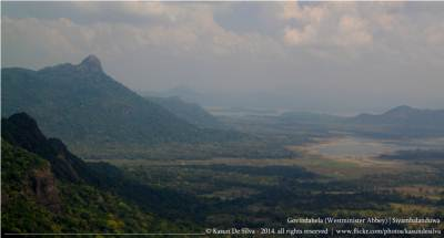 Wadinagala peak zoomed. Jayanthi lake and Gal Oya reservoir seen