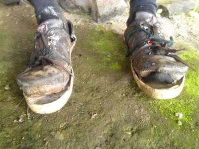 Chiran's Broken Shoes were tied with liaise. This indicate two things 1.How hard the trail is 2.How tough the hiker is to face any challenge and adapt to any condition