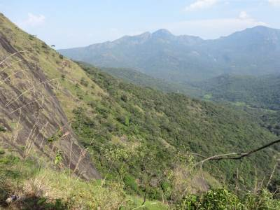 To the base of Lakegala, see the sheer drop, Meemure paddy fields are in the distance