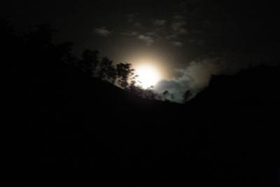 from the village, poson moon rised over the hills we crossed