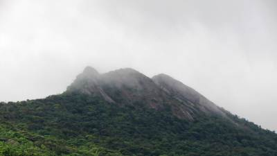Ambokka has three peaks. Covered with mist