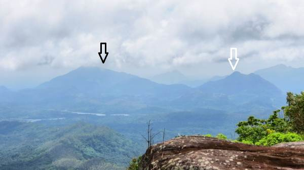 At the top of the Mana patch. Black arrow shows Wilshire Mountain. White arrow shows Arangala peak