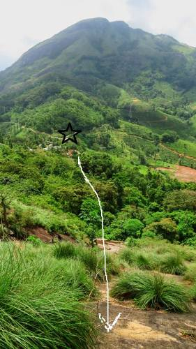 Looked back. Black star shows the junction of Asgiriya lime houses. White arrow shows our pathway. This is the neighbor mountain-Wilshire