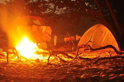 Tents and the Campfire in the night