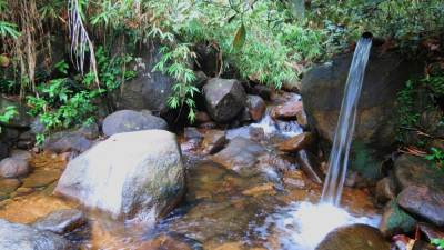 Natural water stream flows to the hermitage