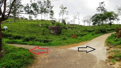 Junction of the road. Red arrow is the direction to Sooriyakanda Towers. Black arrow to Hermitage