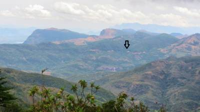 View at Corbet's Gap: Dumbara Valley and Kandy-Mahiyangana road shown in arrow