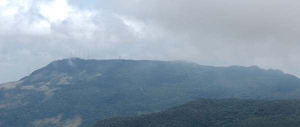 View of Gongala (ගොන්ගල)-highest mountain of Sabaragamuwa Mountain range. Sooriyakanda occupies government transmission towers in contrast Gongala is the place for transmission towers of privet channels