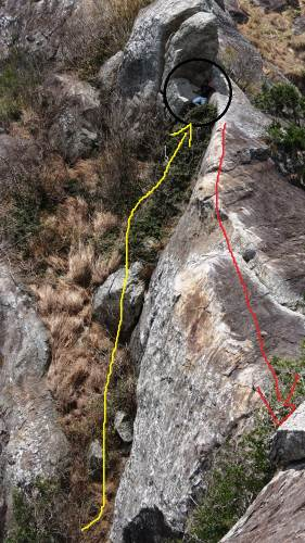 Summary of the path we climbed up to second peak. Yellow line indicates the steep section we climbed and my friend is at the area shown by circle. Then I walked on this ridge like section shown by red line to reach second peak