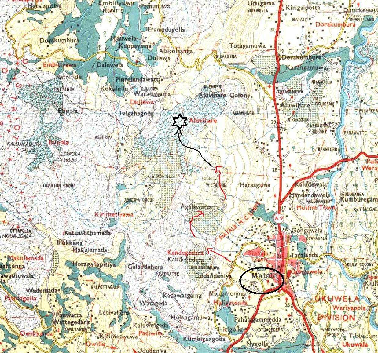 Map reading always helped us. Matale town is shown by black circle. Then follow the pathway (mortable road) in red arrows. Latter part goes through a tea estate according to the map. But we didn't come across such area. Most probably it is covered with Pines now. Black line shows approximate path towards the peak. Black star might be the peak.