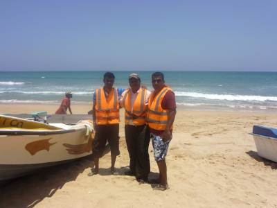 We three and our hired Boat ( Rs. 2000/-) If you by goggles and other diving equipments you have to pay more…….Also you have to buy tickets from DWC counter which is located in the Nilaveli Beach. It cost  Rs. 650/- for three of us