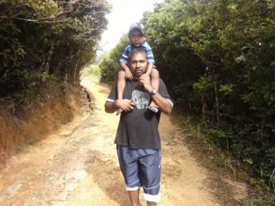 Hi Hi Sanketha took him to give a hiking experience .But due to leeches he refused to get down