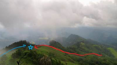 Where we came: Blue star shows the Mana area we had a rest. Blue arrow shows our way through Pines patch. Red arrow shows Ashan's pathway. (Most probably). Then black arrow shows the way towards the peak.