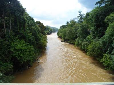 View from the wooden bridge over the Kalu River…..probably the narrowest point of Kalu River….
