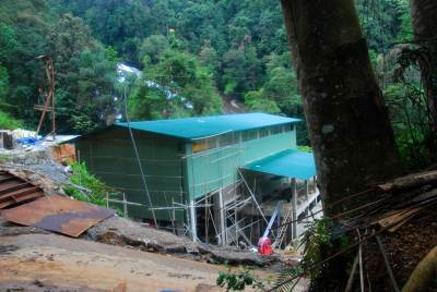 Construction site of mini hydropower plant.