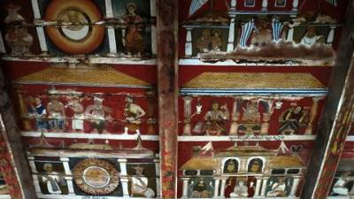 Kottimubulwala cave temple roof paintings