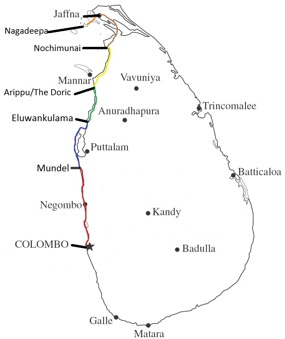 Day 1 : Colombo > Negambo > Chilaw > Mundel  (Marked in Red) Day 2 : Mundel > Kalpitya > Serakkuliya > Eluwankulama (Marked in Blue) Day 3 : Eluwankulama > Wilpattu National Park > Arippu/The Doric (Marked in Green) Day 4 : Arippu > Nochimunai (Marked in Yellow) Day 5 : Nochimunai > Pooneryn > Jaffna (Marked in Brown) Day 6 : Jaffna > Nagadeepa > Jaffna (Marked in Orange)