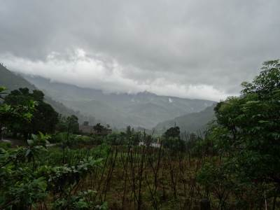 The mountain range covered by the charcoal grey mist