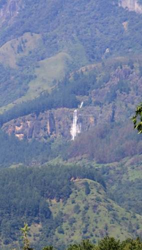 Bambarakanda waterfall with it's upper and lower parts. Photo was taken on the way to Soragune Dewalaya.