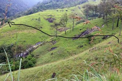 Shows the foot pathway crossing Lanka Ella