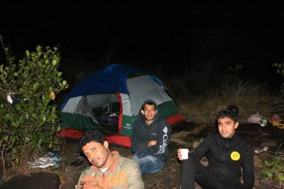 Enjoying at camp site