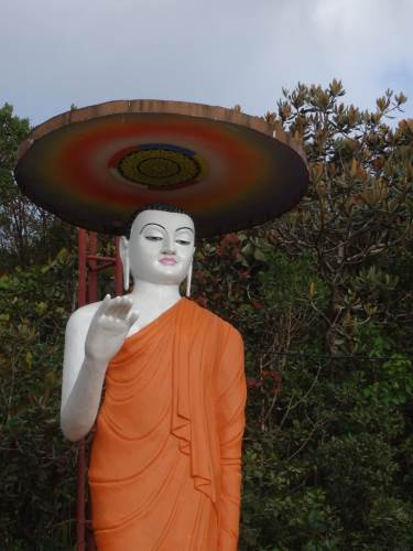 Buddha statue was being painted