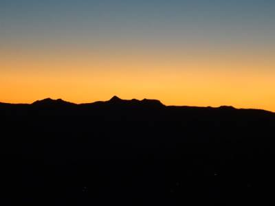 Silhouette of the mountain tops
