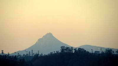 adams peak seen from the window