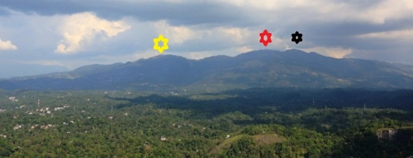 Hanthana range. Glad to tell I have walked over this range. Black star shows Ura Ketu Gala (ඌරාකෙටු ගල), red star shows Katusukonda (කටුසුකොන්ද )and yellow star shows the hill where transmission towers placed